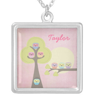 Sweet Owls Girls Name Necklace