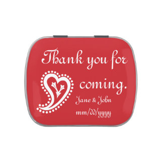 Sweet Paisley Hearts in Cherry Candy Favor Tin Jelly Belly Candy Tins