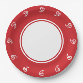Sweet Paisley Hearts in Cherry Paper Plate