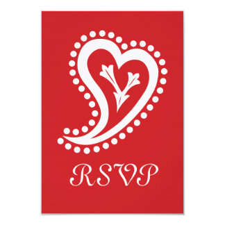 Sweet Paisley Hearts in Cherry RSVP Card