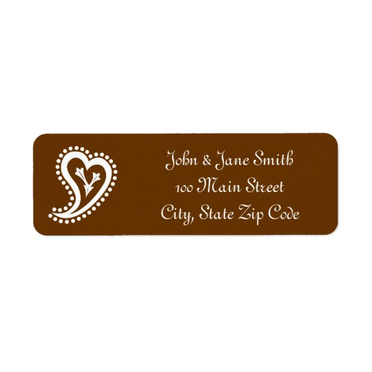 Sweet Paisley Hearts in Chocolate Address Label