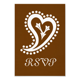Sweet Paisley Hearts in Chocolate RSVP Card