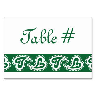 Sweet Paisley Hearts in Green Table Card