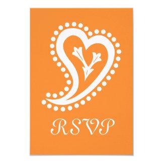 Sweet Paisley Hearts in Orange RSVP Card