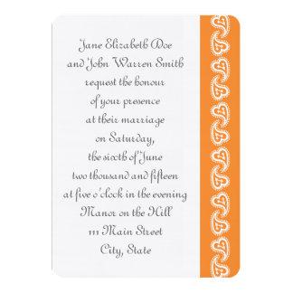 Sweet Paisley Hearts in Orange Wedding Invitation