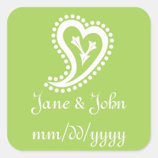 Sweet Paisley Hearts in Peridot Sticker