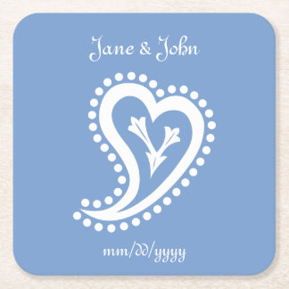 Sweet Paisley Hearts in Periwinkle Paper Coaster