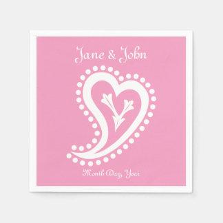 Sweet Paisley Hearts in Petal Pink Napkins