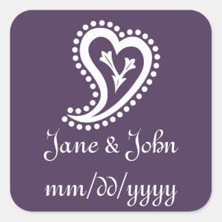 Sweet Paisley Hearts in Purple Sticker