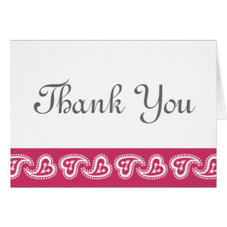 Sweet Paisley Hearts in Raspberry Thank You Card