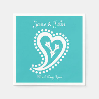 Sweet Paisley Hearts in Turquoise Napkins Paper Napkins