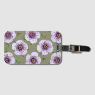 Sweet Pale Blue Geranium Flowers on any Color Luggage Tag