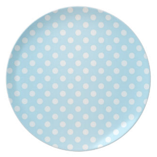 Sweet Pale Teal Blue and White Polka Dots Melamine Plate