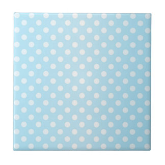 Sweet Pale Teal Blue and White Polka Dots Tile