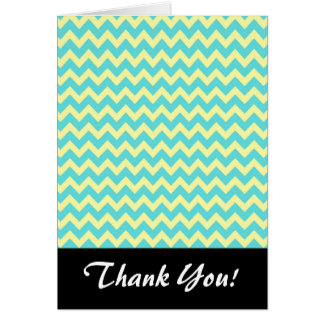 Sweet Pale Teal Blue and Yellow Chevron Pattern Card