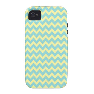 Sweet Pale Teal Blue and Yellow Chevron Pattern Case-Mate iPhone 4 Cases