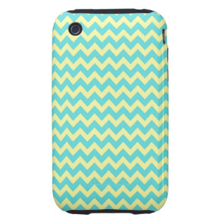 Sweet Pale Teal Blue and Yellow Chevron Pattern iPhone 3 Tough Cover