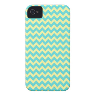 Sweet Pale Teal Blue and Yellow Chevron Pattern iPhone 4 Covers