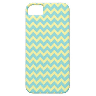 Sweet Pale Teal Blue and Yellow Chevron Pattern iPhone 5 Case