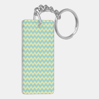 Sweet Pale Teal Blue and Yellow Chevron Pattern Double-Sided Rectangular Acrylic Keychain