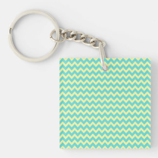 Sweet Pale Teal Blue and Yellow Chevron Pattern Double-Sided Square Acrylic Keychain