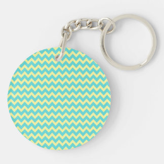 Sweet Pale Teal Blue and Yellow Chevron Pattern Double-Sided Round Acrylic Keychain