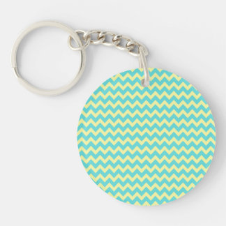 Sweet Pale Teal Blue and Yellow Chevron Pattern Single-Sided Round Acrylic Keychain