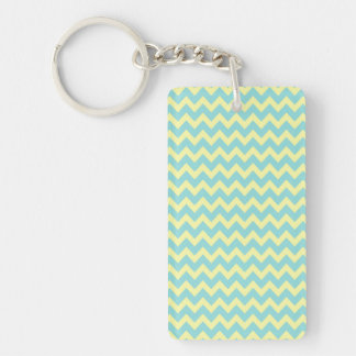Sweet Pale Teal Blue and Yellow Chevron Pattern Single-Sided Rectangular Acrylic Keychain