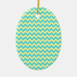 Sweet Pale Teal Blue and Yellow Chevron Pattern Christmas Tree Ornaments