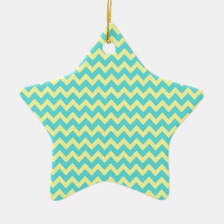 Sweet Pale Teal Blue and Yellow Chevron Pattern Christmas Ornaments