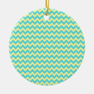 Sweet Pale Teal Blue and Yellow Chevron Pattern Ornaments