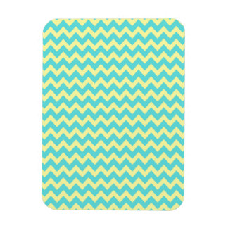 Sweet Pale Teal Blue and Yellow Chevron Pattern Flexible Magnet