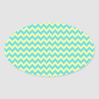 Sweet Pale Teal Blue and Yellow Chevron Pattern Oval Stickers