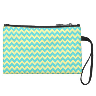 Sweet Pale Teal Blue and Yellow Chevron Pattern Suede Wristlet Wallet