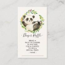 Sweet Panda Baby Shower Diaper Raffle Ticket Enclosure Card