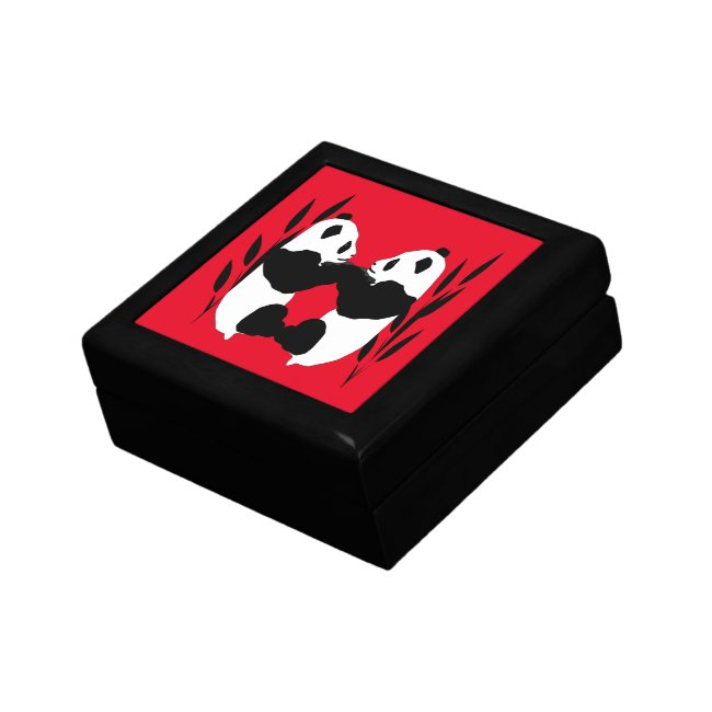 Sweet Panda Bear Animals Red Gift Box