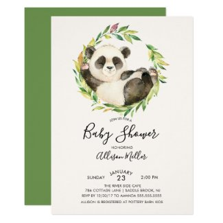Sweet Panda Bear Baby Shower Invitation