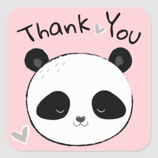 Sweet Panda Bear Face Thank You Square Sticker