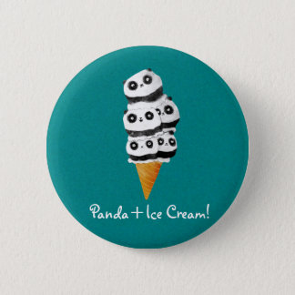 Sweet Panda Bear Ice Cream Cone Button