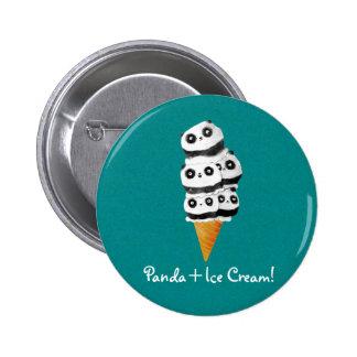 Sweet Panda Bear Ice Cream Cone Buttons