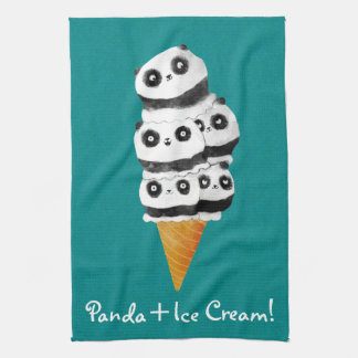 Sweet Panda Bear Ice Cream Cone Kitchen Towel