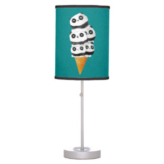 Sweet Panda Bear Ice Cream Cone Table Lamps