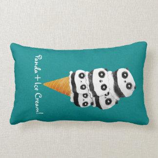 Sweet Panda Bear Ice Cream Cone Lumbar Pillow