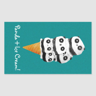 Sweet Panda Bear Ice Cream Cone Rectangular Sticker
