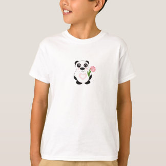Sweet Panda Bear with Flower T-Shirt