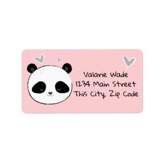 Sweet Panda Face with Hearts Pink Label