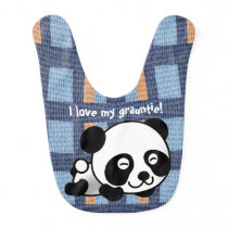 "Sweet Panda, Plaid & ""I Love My Grauntie!"" Baby Bib"
