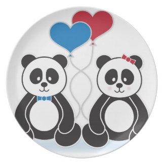 Sweet pandas in love melamine plate