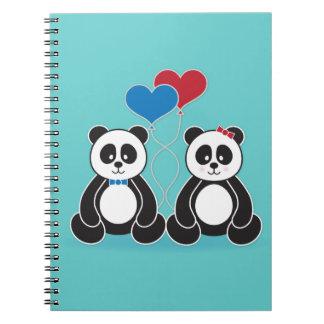 Sweet pandas in love notebook