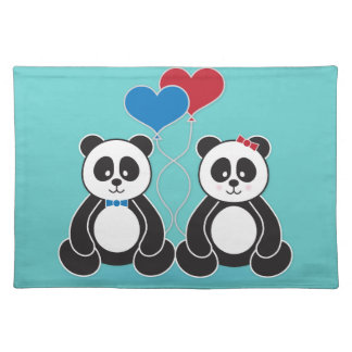 Sweet pandas in love placemats